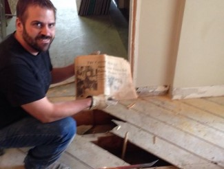 Tim found a Calgary Herald from 1967 hidden in the old flooring!