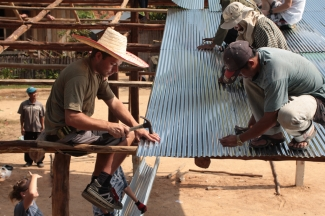 Helping build a shelter in Thailand