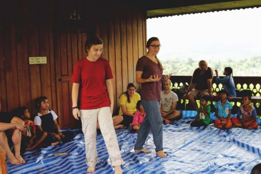 Skits and games at an orange farm.